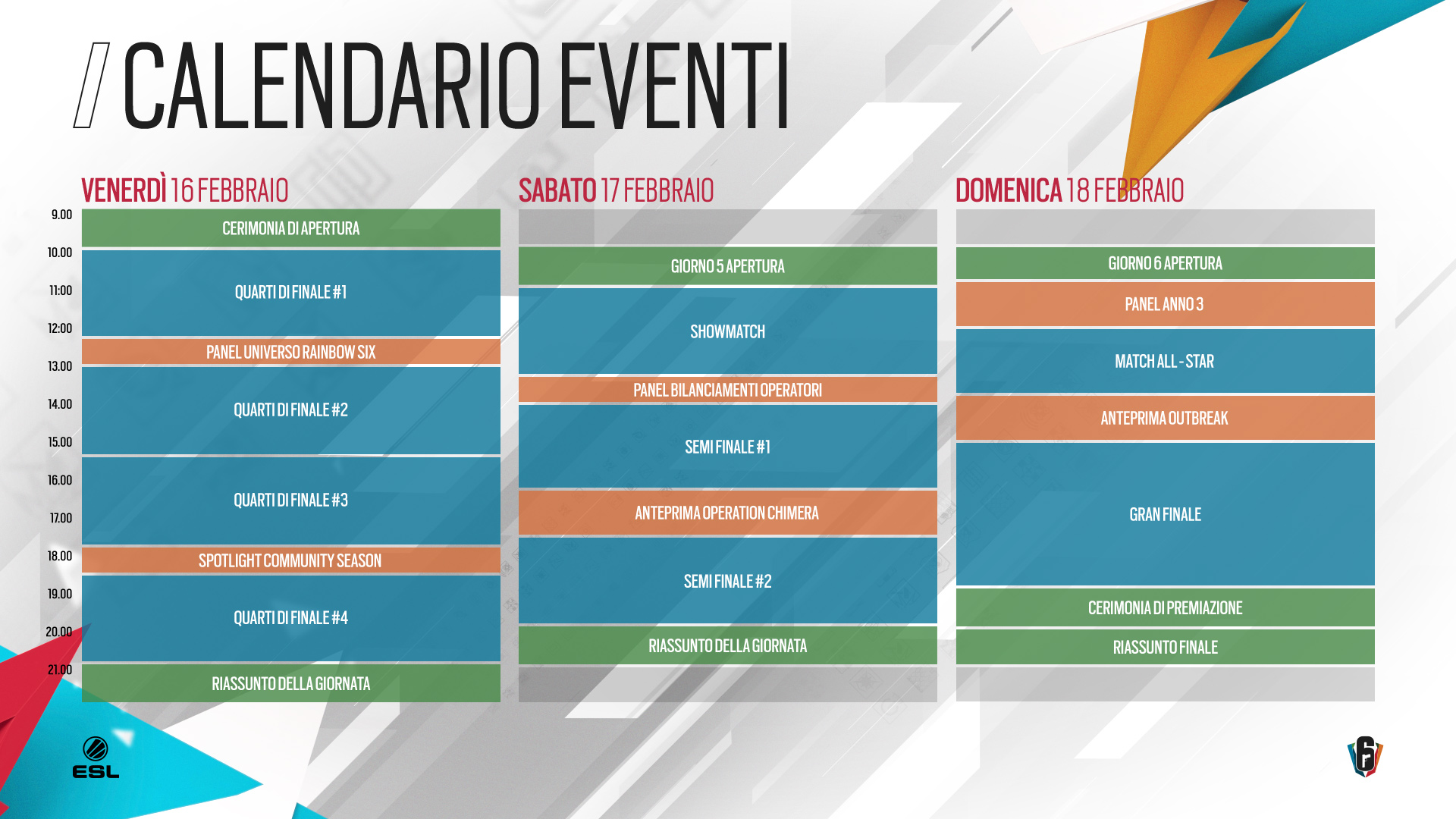 Calendario Eventi Rainbow Six Siege